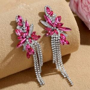 Серьги «Беатрис» с розовыми кристаллами 9,9 см