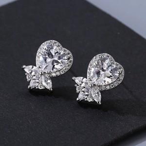 Ювелирные серьги «Бриллиантовое сердце» 1,7 см