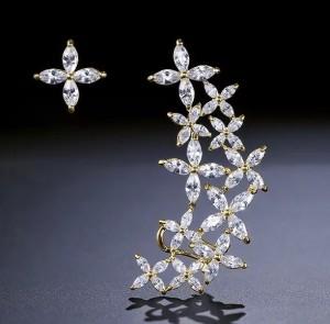 Ювелирные серьги-Каффа и пусета Gold «Шинни»