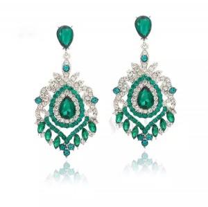 Серьги с зелёными кристаллами «Паулина» 7,4 см