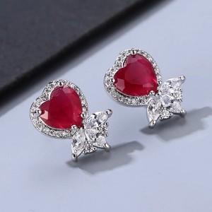 Ювелирные серьги «Рубиновое сердце» 1,7 см