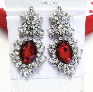 Серьги с красными кристаллами «Гранат» 5,5 см
