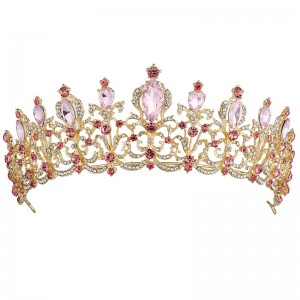 Диадема с розовыми кристаллами «Агата» 6 см