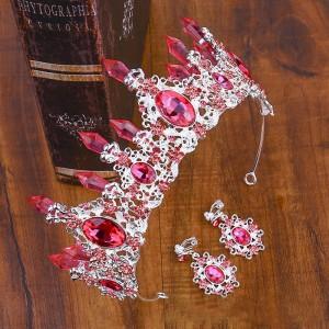 Комплект Корона и серьги с розовыми кристаллами