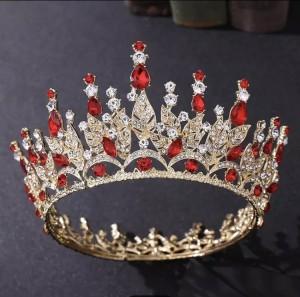 Корона полного круга Gold с красными кристаллами 7,5 см