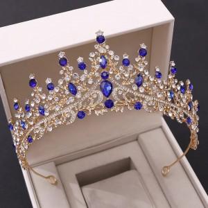 Диадема «Алина» с синими кристаллами 7 см