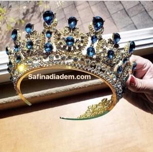 Корона с голубыми кристаллами «Лазурь» 7 см