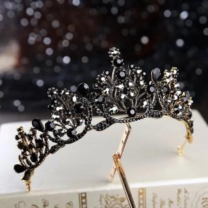 Диадема с чёрными кристаллами «black edition» 6 см