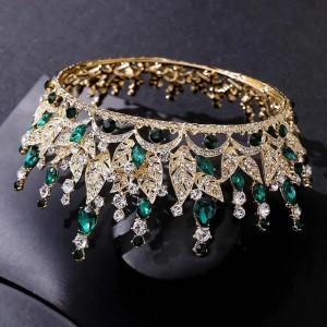 Корона полного круга Gold с зелёными кристаллами 7,5 см
