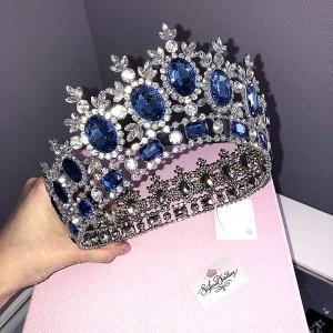 Корона полного круга с голубыми кристаллами 8,5 см Под заказ