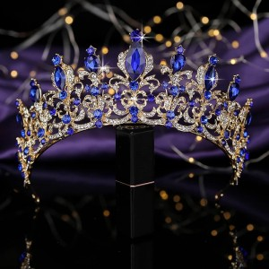 "Диадема с синими кристаллами ""Агата"" 6,5 см"