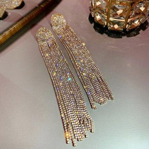 Серьги Gold «Lady style» 17 см