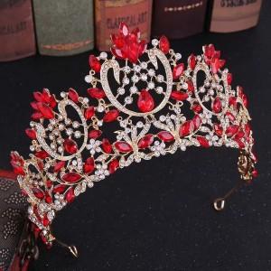 Диадема с красными кристаллами «Барбара» 9 см