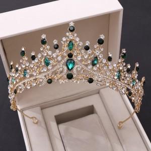 Диадема с зелёными кристаллами «Алина» 6 см