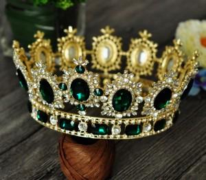 Корона Gold с зелёными кристаллами 10 см под заказ