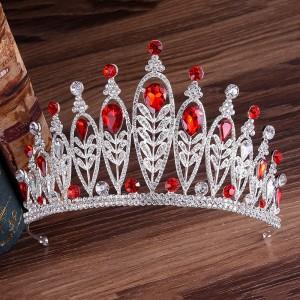 """Корона-диадема с красными кристаллами """"Ванесса"""" 10 см"""