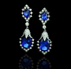 """Серьги с синими кристаллами """"Тюльпан"""" 8,5 см"""