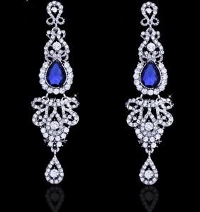 Серьги с синими кристаллами 10,5 см