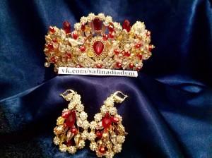 """Корона """"Амалия"""" с красными кристаллами Под заказ"""
